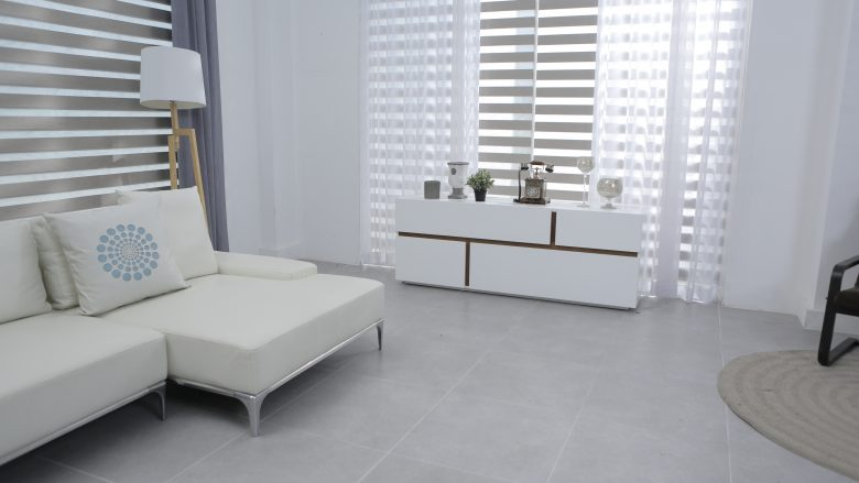 White furniture - blinds and drapes